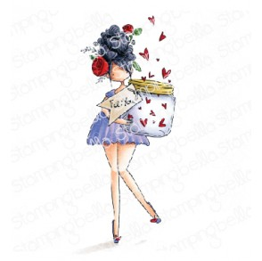 CURVY GIRL with a jar of hearts rubber stamp